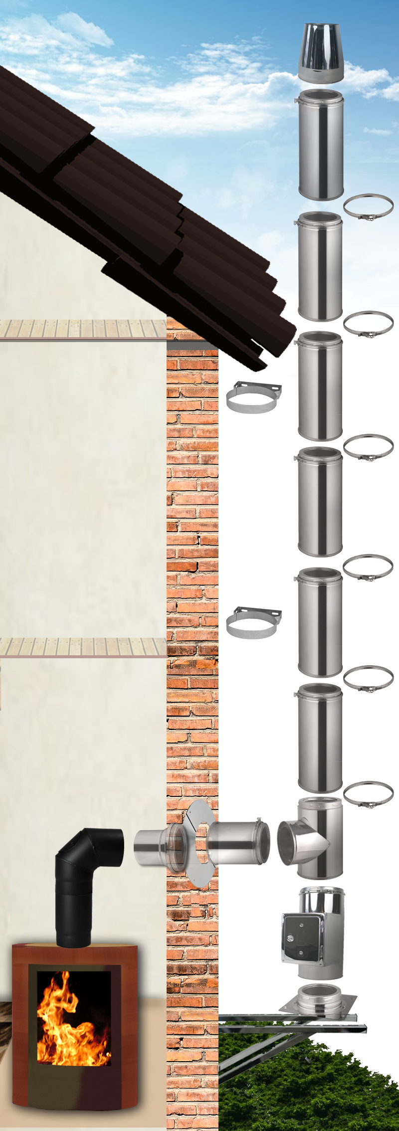 edelstahlschornstein bausatz 4 2m doppelwandig 130 200mm. Black Bedroom Furniture Sets. Home Design Ideas