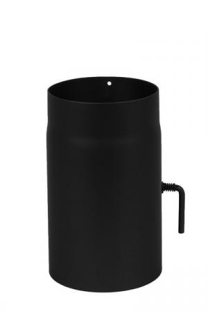 250mm Rauchrohr mit Drosselklappe aus Stahl - 2 mm Wandstärke 150mm Durchmesser schwarz